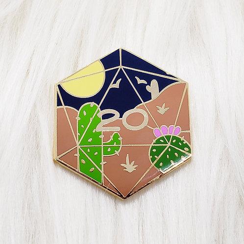 Desert D20 Enamel Pin