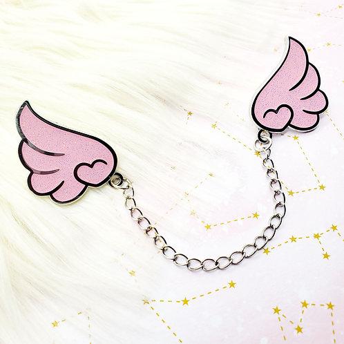 Pink Glitter Wings Enamel Pin Set