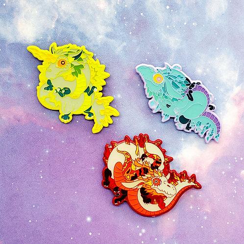 Dyed Metal Dragons Enamel Pins