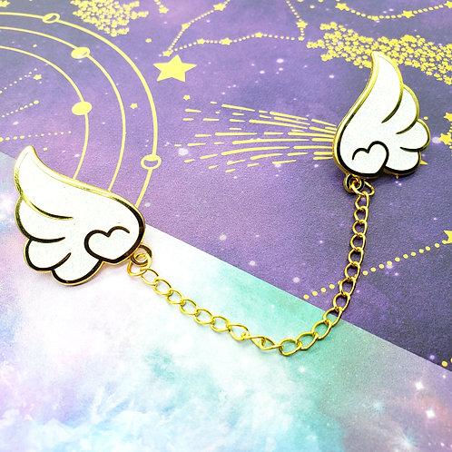 White Glitter Wings Enamel Pin Set