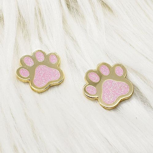 Glitter Kitty Pawprints Enamel Pin Set