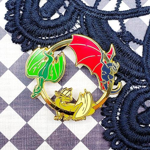 Classic Tri-Dragon Enamel Pin