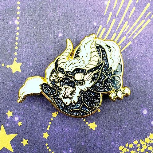 Black Glitter Celestial Dragon Enamel Pin