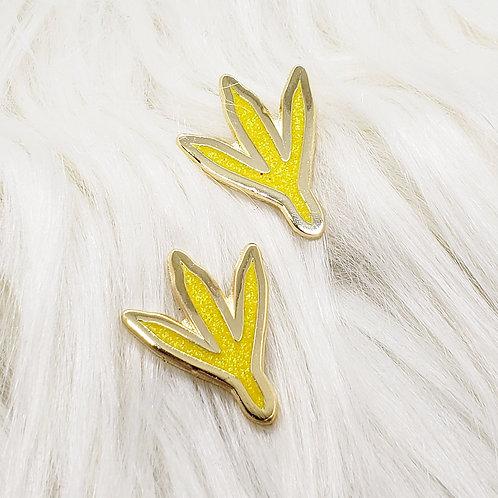 Glitter Chicken Footprints Enamel Pin Set