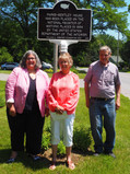 NYS Assemblywoman Carrie Woerner, Parks-Bentley volunteer Sharon Jensen, and SGF Village Trustee Harry Guthiel at marker dedication