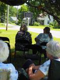 Visitors await dedication ceremony