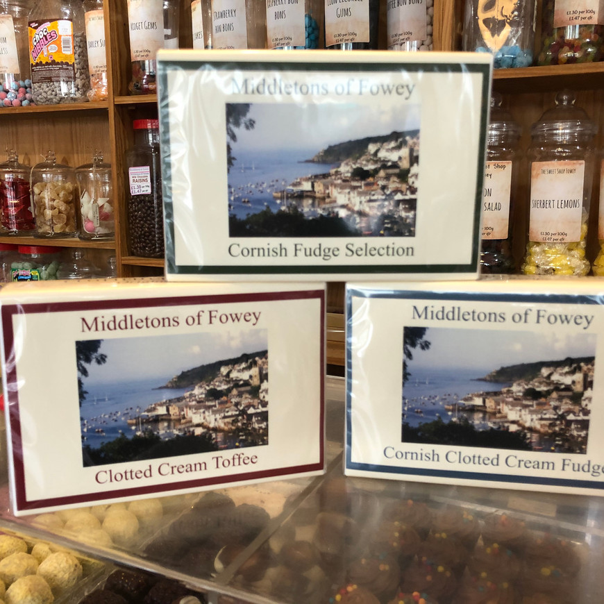 Gift boxes of fudge and toffee