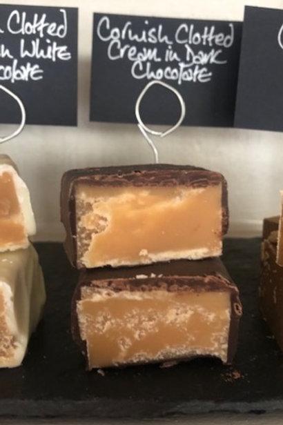 Clotted cream fudge in dark chocolate