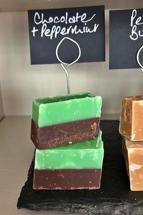 Chocolate and peppermint layer fudge