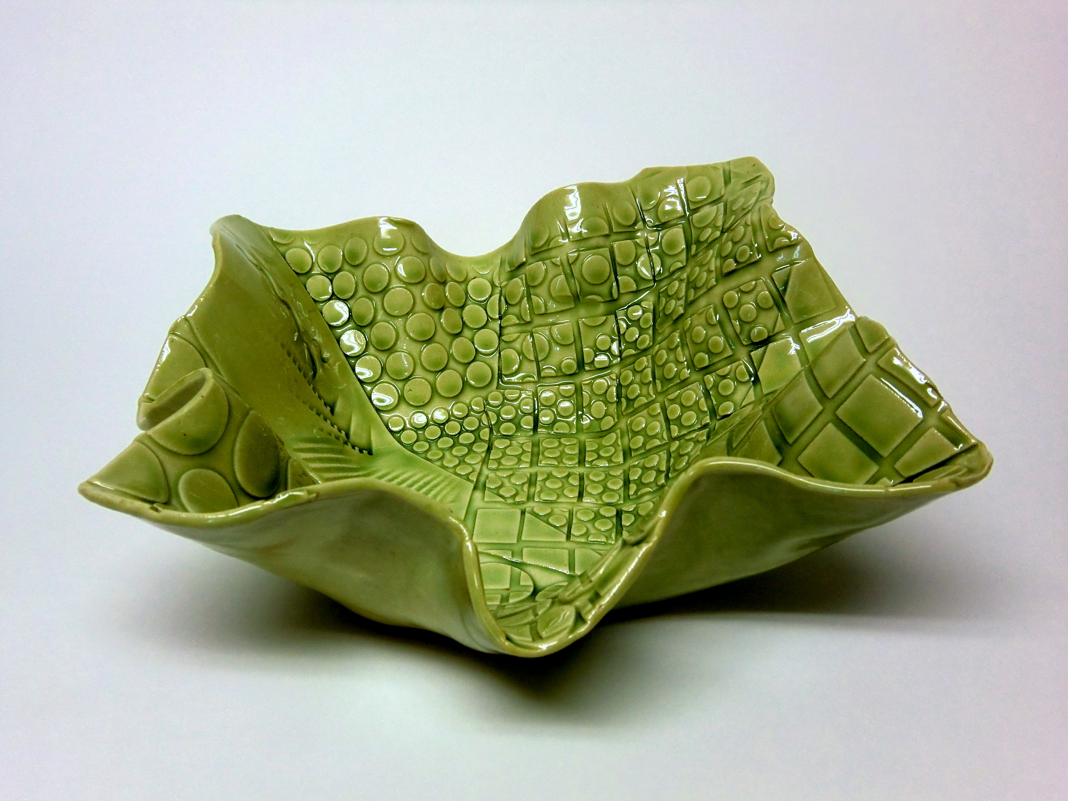 Green gloss wavy 5-point platter