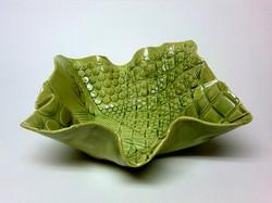 Green gloss wavy 5-point platter