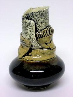 Collar vase mixed clay brown base