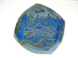 Bronze blue faceted dinner plate