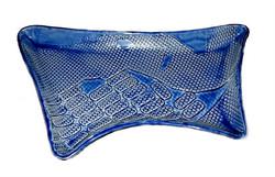 Large 4-point gloss blue platter