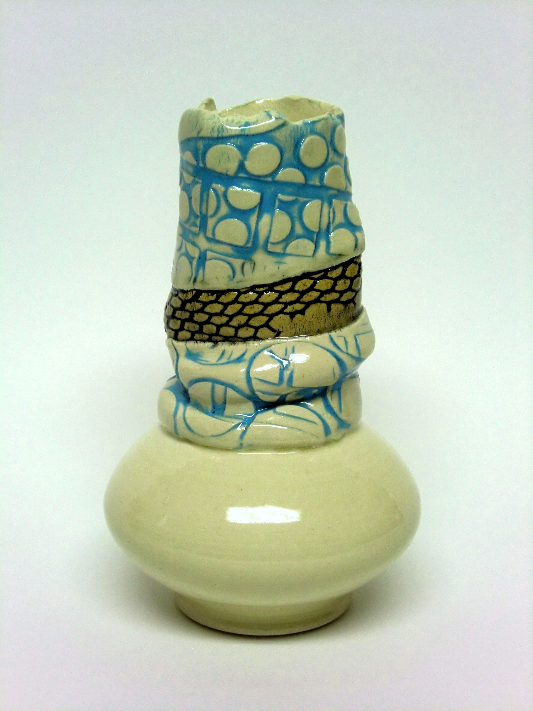 Turquoise and tan collar vase