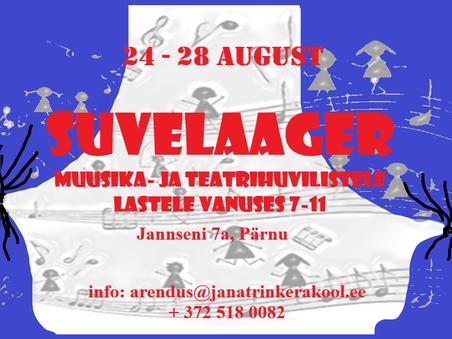 Suvelaager muusika- ja teatrihuvilistele lastele 24-28 august