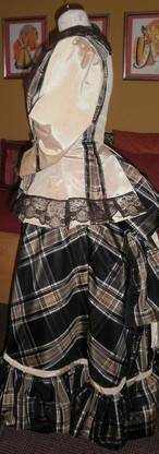 Yellow and brown plaid bustle back.JPG