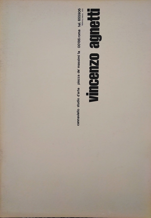 VINCENZO AGNETTI, Studio Cannaviello,1975