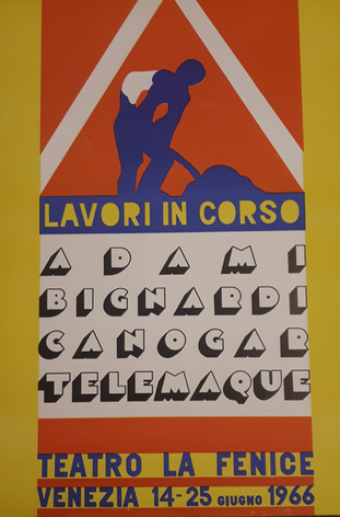 Lavori in corso, manifesto mostra L'Attico a Venezia, 1966