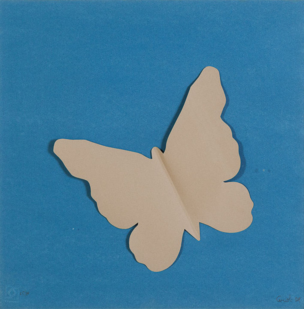 venduto - MARIO CEROLI, Farfalla, 1969, collage di carte colorate, es. 54/80, cm 50 x 50