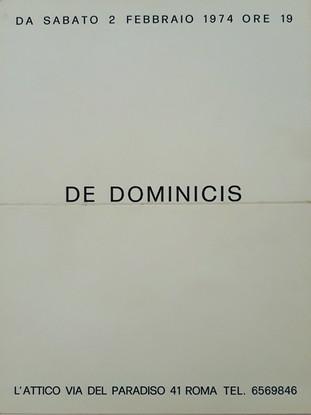 Gino De Dominicis – cartoncino invito galleria L'Attico, 1974