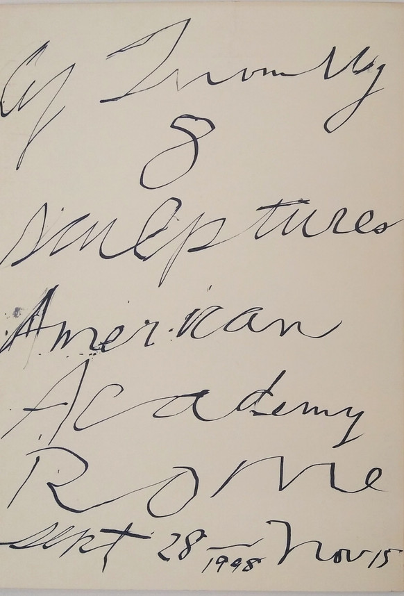 Cy Twombly, 8 SCULPTURES, American Academy Rome, sept 28 - nov 15 1998
