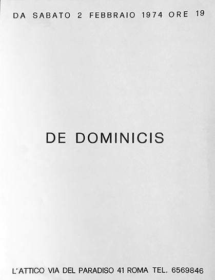 Gino De Dominicis - manifesto galleria L'Attico, 1974