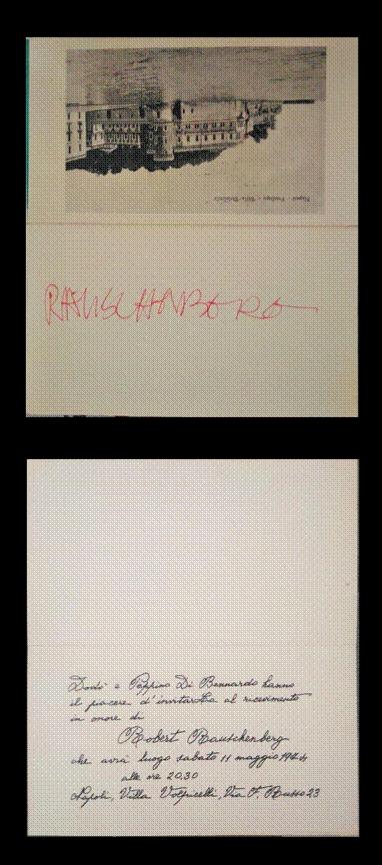Robert Rauschenberg, autografo, Napoli 1974