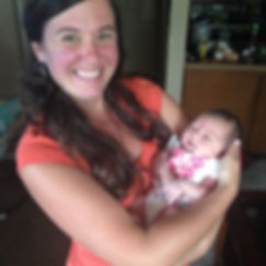 Midwife Rachael with new baby