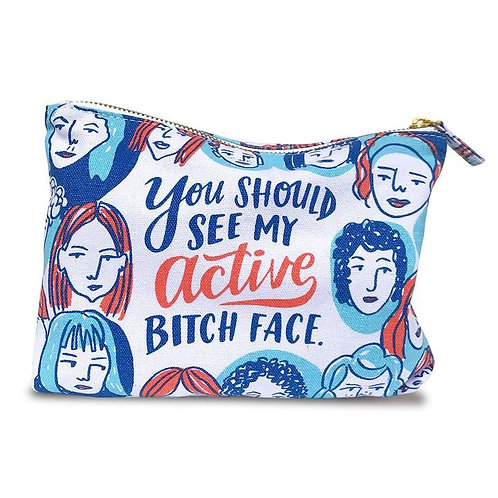 'active bitch face' pouch