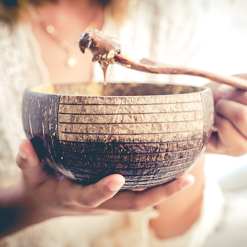 natural coconut bowl with handmade wooden spoon (striped)