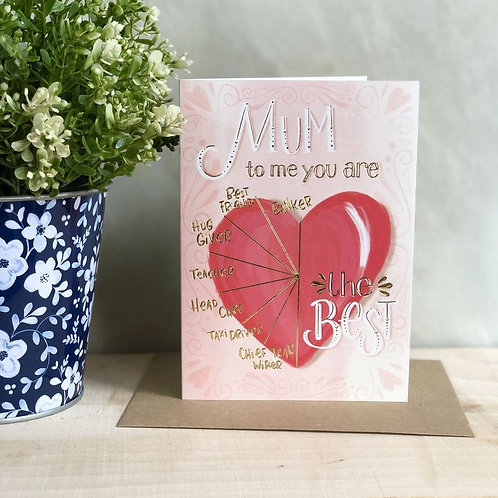 'mum, to me you are' card