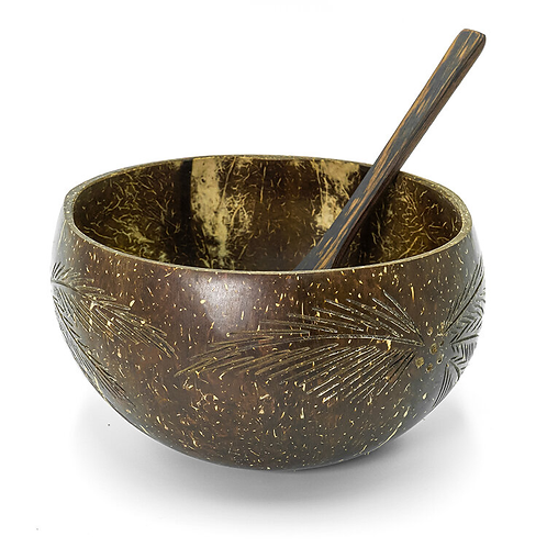 natural coconut bowl with handmade wooden spoon (leaf)