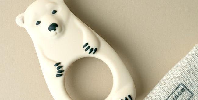 cream bear baby teether