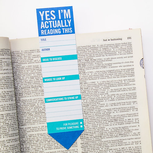 'yes, i'm actually reading this' bookmark pad