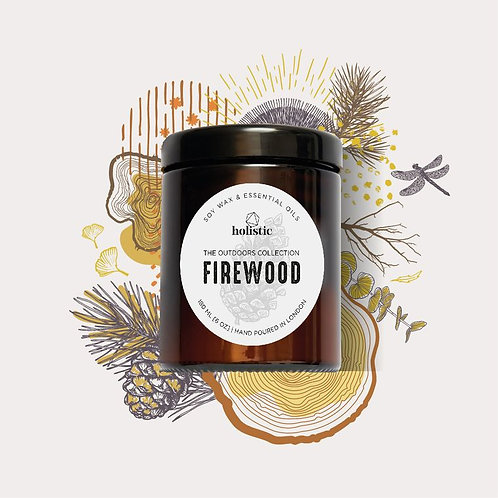 firewood scented soy wax candle