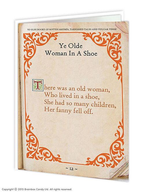 'ye olde woman in a shoe' card
