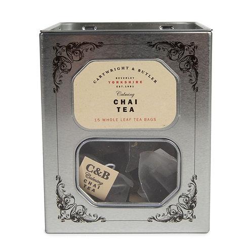 chai tea whole leaf tea bag tin