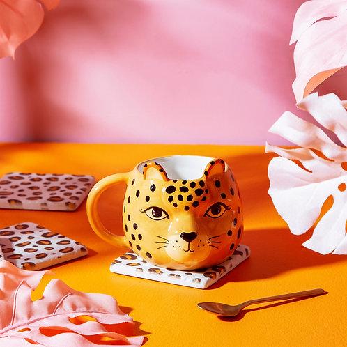 leopard love shaped mug
