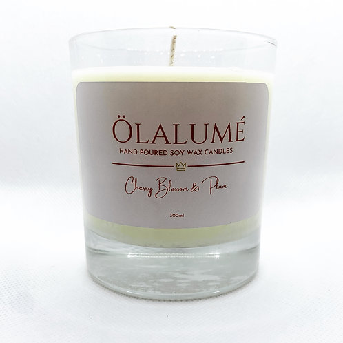 cherry blossom & plum soy wax candle 300ml