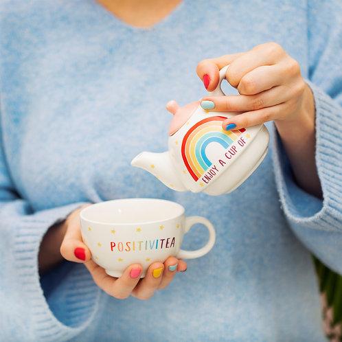 rainbow 'positivitea' tea cup and pot