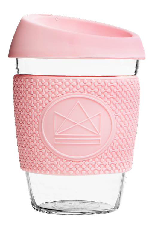 reusable glass coffee cup - pink