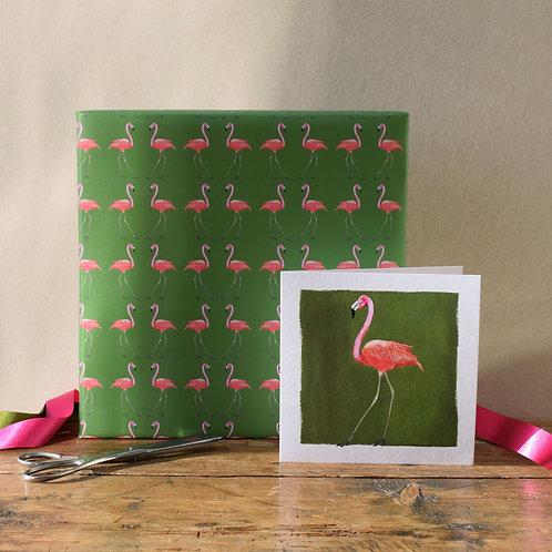 'flamingo' gift wrap