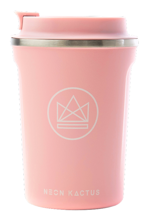 reusable insulated coffee cup - pink