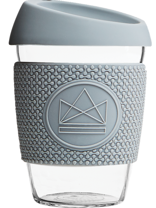 reusable glass coffee cup - grey