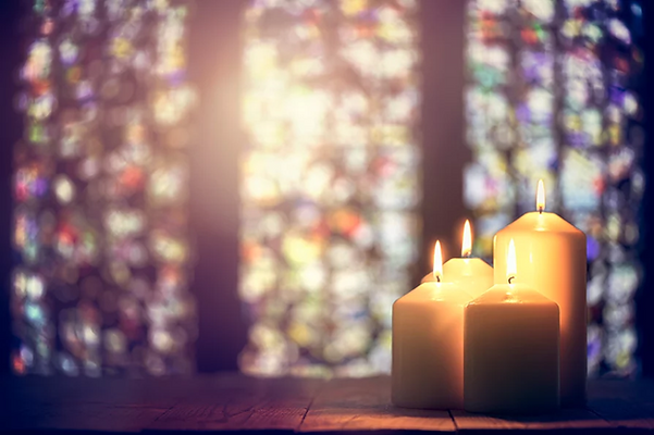 Candles Burning stained glass background