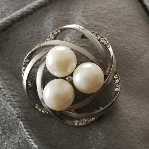 Tuchnadel Wirbel mit 3 Perlem