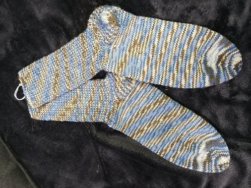 Socken beige braun blau Ringel