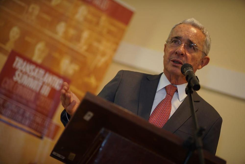 El expresidente de Colombia Álvaro Uribe, en la II Cumbre Transatlántica