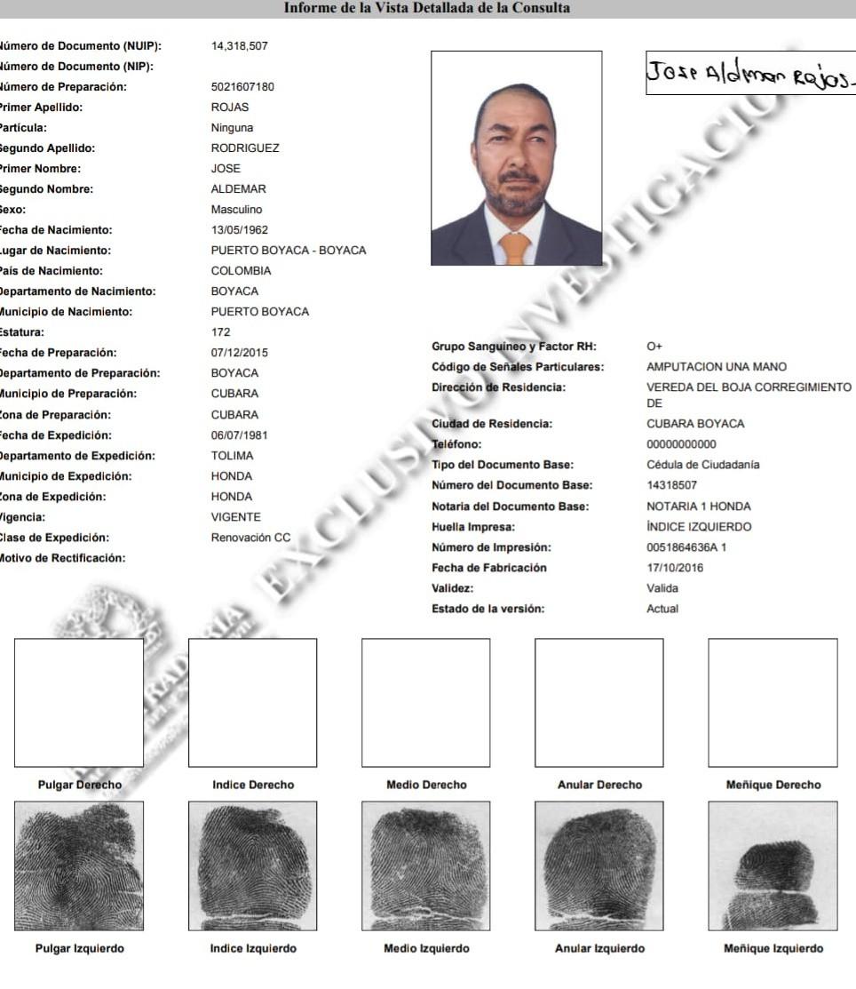 Ficha judicial de Rojas Rodríguez